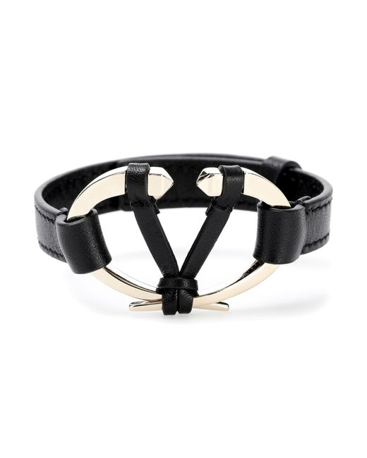 Valentino - Black Garavani Leather Bracelet - Lyst