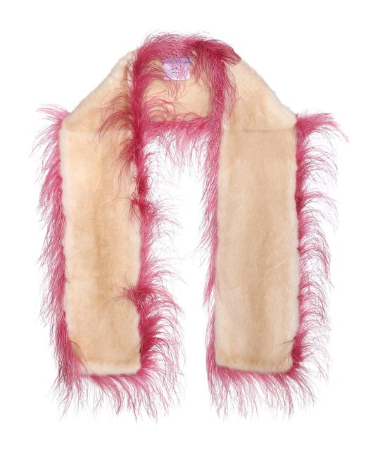 Prada - Multicolor Ostrich And Mink Fur Scarf - Lyst
