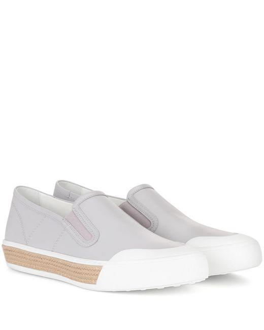Tod's - Gray Leather Slip-on Sneakers - Lyst