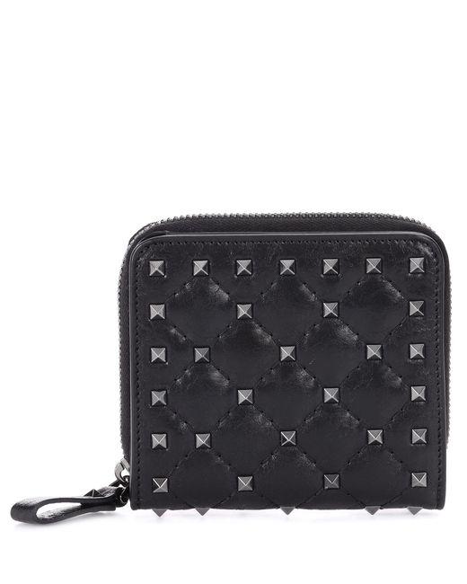 Valentino - Black Rockstud Leather Wallet - Lyst