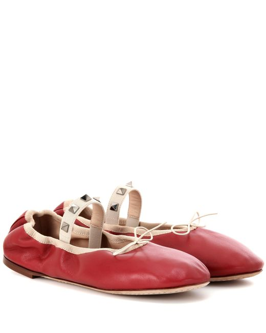 Valentino | Red Rockstud Ballet Leather Ballet Flats | Lyst