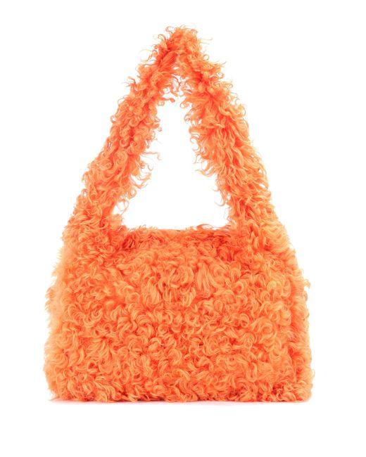 Miu Miu - Orange Shearling Shoulder Bag - Lyst