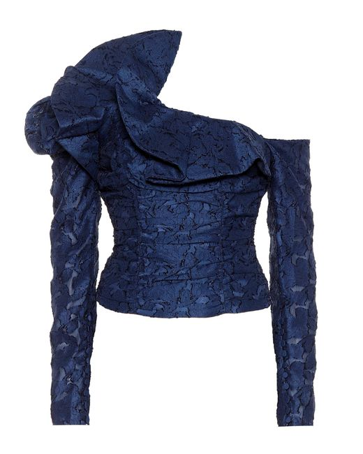 Self-Portrait Blue Ruffled Lace Off-the-shoulder Top