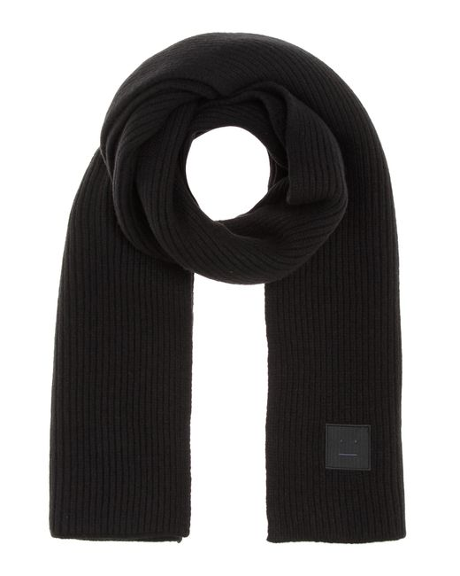 Acne | Black Bansy Face Knitted Wool Scarf | Lyst