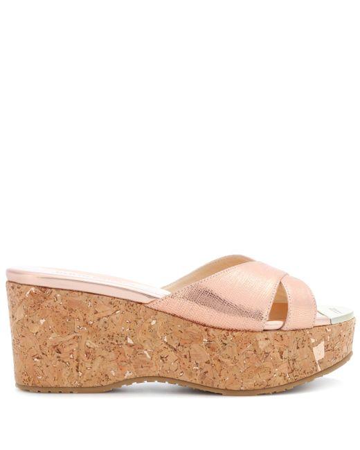 e831cd5f2118 ... Jimmy Choo - Metallic Prima Leather Wedge Sandals - Lyst ...