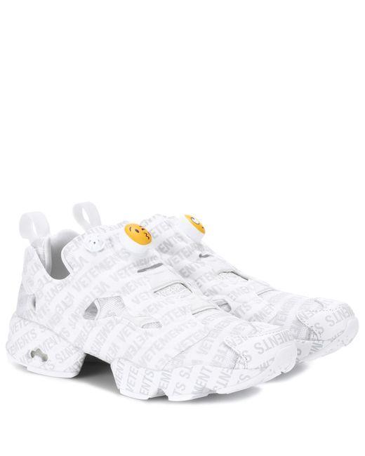 Vetements - White X Reebok Logo Instapump Fury Sneakers - Lyst