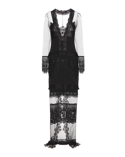Tom Ford - Black Macramé Lace And Tulle Dress - Lyst