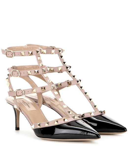 Valentino Natural Rockstud Studded Patent Leather Pumps