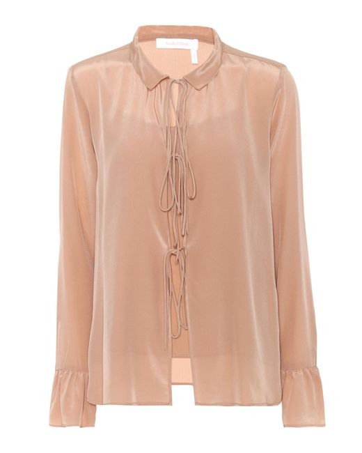 See By Chloé - Natural Silk Blouse - Lyst