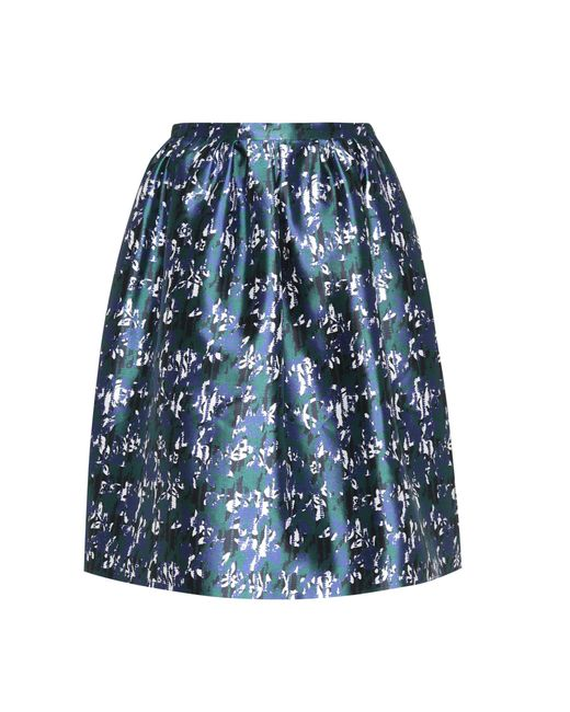 Oscar de la Renta - Blue Silk And Cotton Skirt - Lyst