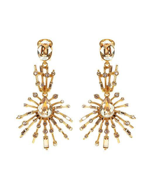 Oscar de la Renta   Metallic Crystal-embellished Earrings   Lyst