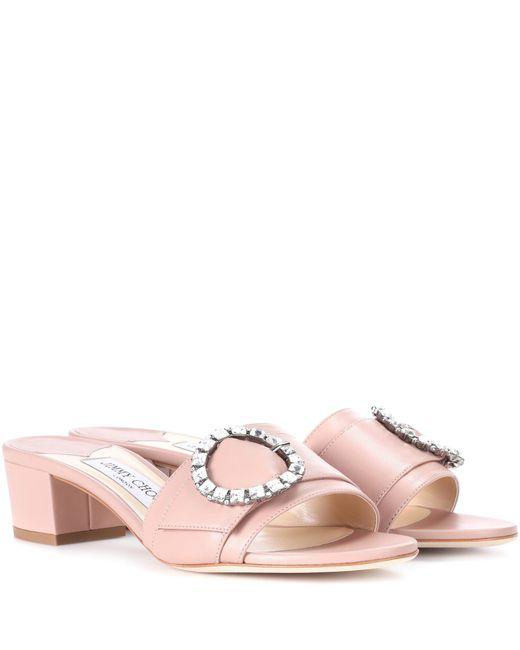Jimmy Choo - Pink Granger 35 Leather Slides - Lyst