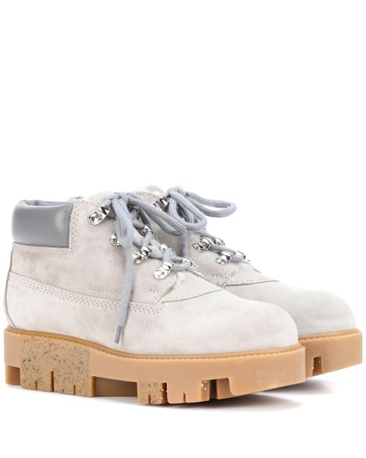 Acne - Gray Exclusive To Mytheresa.com – Tinne She Suede Ankle Boots - Lyst