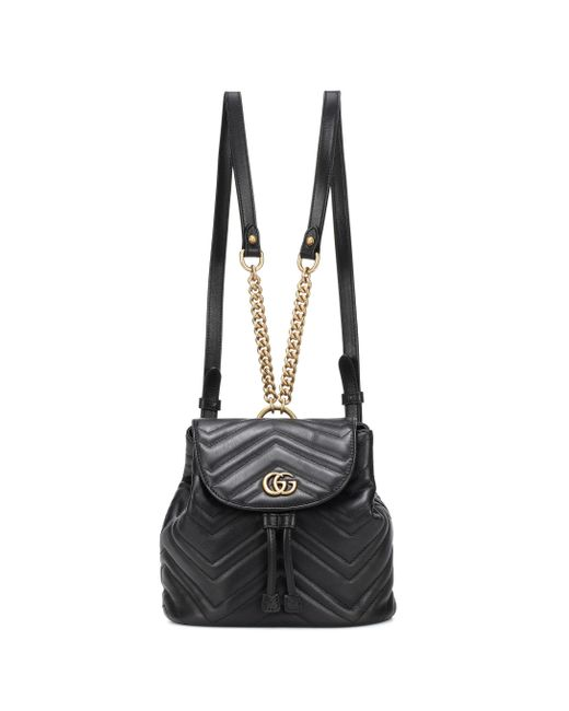 7770ce06202b Gucci - Black GG Marmont Leather Backpack - Lyst ...