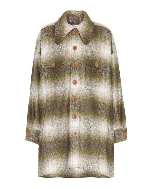 Chloé | Green Mohair-blend Plaid Coat | Lyst