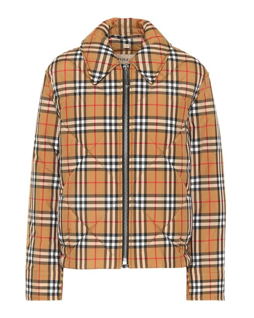 Burberry - Natural Quilted Checked Jacket - Lyst