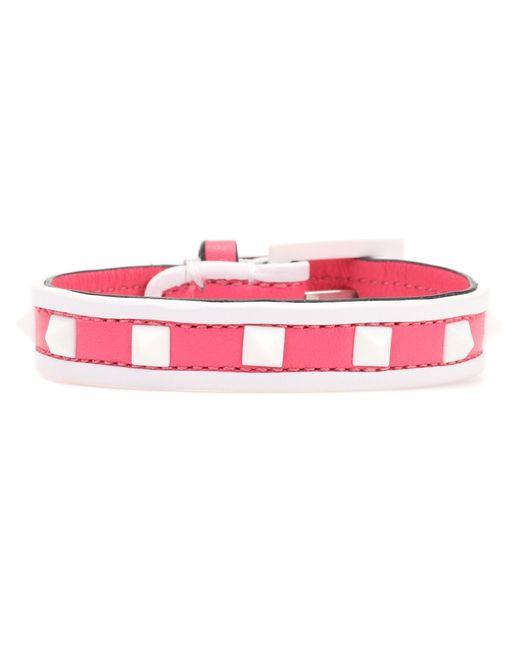 Valentino - Pink Garavani Free Rockstud Leather Bracelet - Lyst