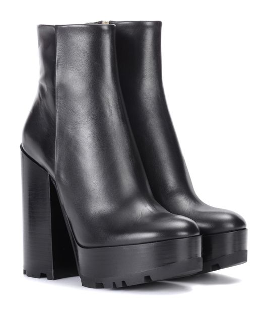 lyst jil sander leather plateau ankle boots in black. Black Bedroom Furniture Sets. Home Design Ideas