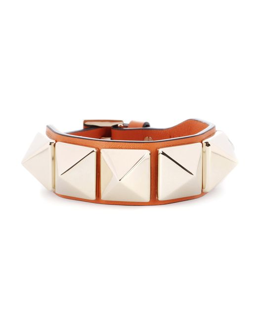 Valentino | Orange Garavani Rockstud Leather Bracelet | Lyst