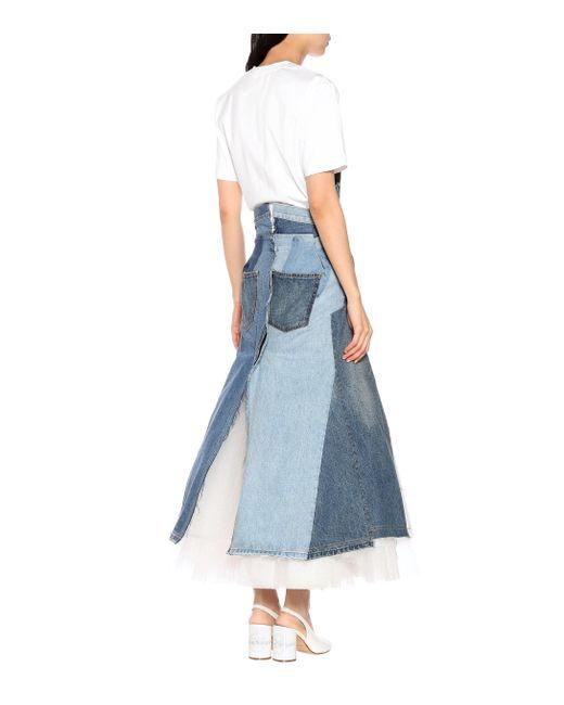 5cb974b82b Lyst - Junya Watanabe Denim Tulle Skirt in Blue - Save 13%