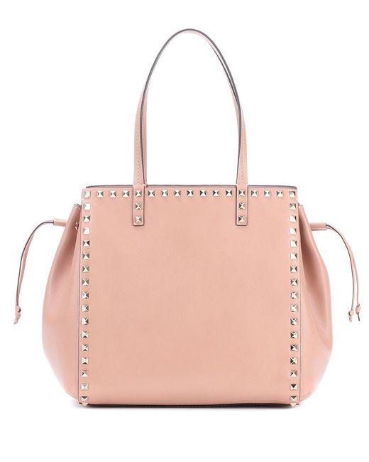 Valentino - Pink Rockstud Leather Shopper - Lyst