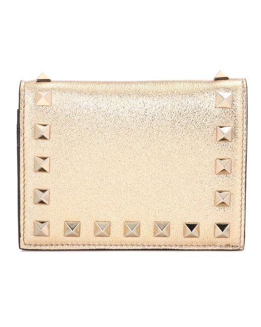 Valentino | Garavani Rockstud Metallic Leather Wallet | Lyst