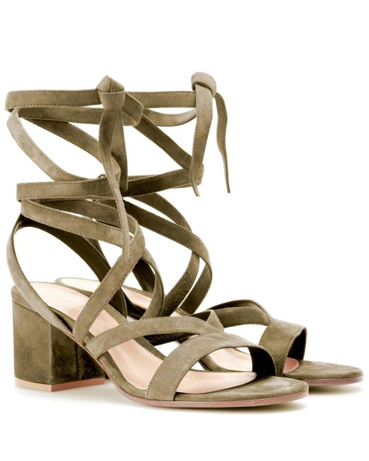 Gianvito Rossi - Green Janis Low Suede Sandals - Lyst