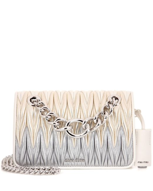 Miu Miu | Metallic Matelassé Leather Shoulder Bag | Lyst