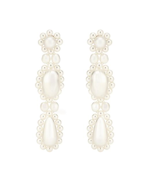 Simone Rocha - White Faux Pearl Drop Earrings - Lyst