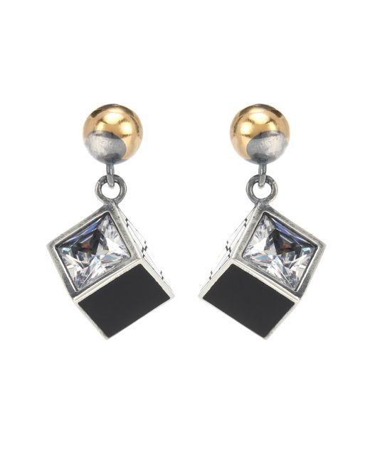 Bottega Veneta - Metallic Sterling Silver Earrings With Cubic Zirconia - Lyst