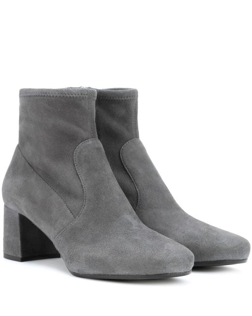 Prada Gray Suede Ankle Boots