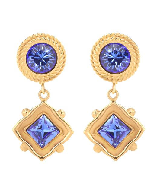 Dolce & Gabbana | Blue Crystal Clip-on Earrings | Lyst