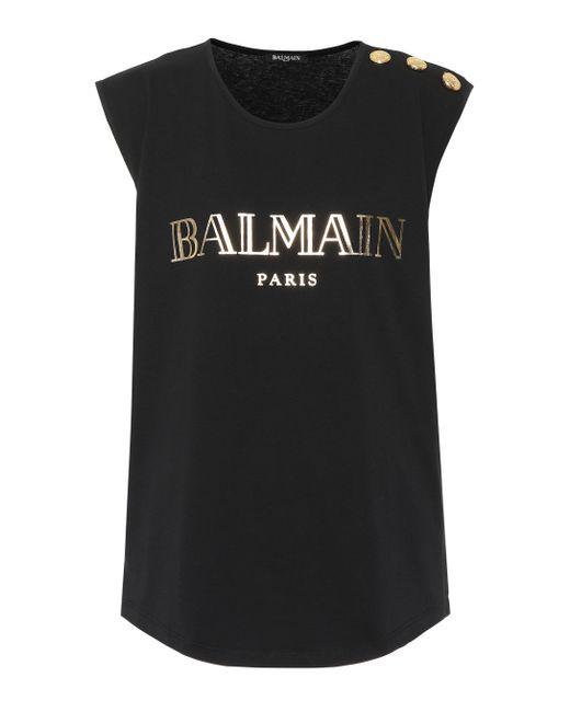 Balmain - Black Camiseta de algodón estampada - Lyst