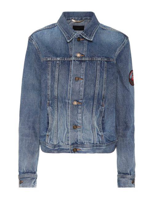 Saint Laurent - Blue Denim Jacket With Appliqué - Lyst
