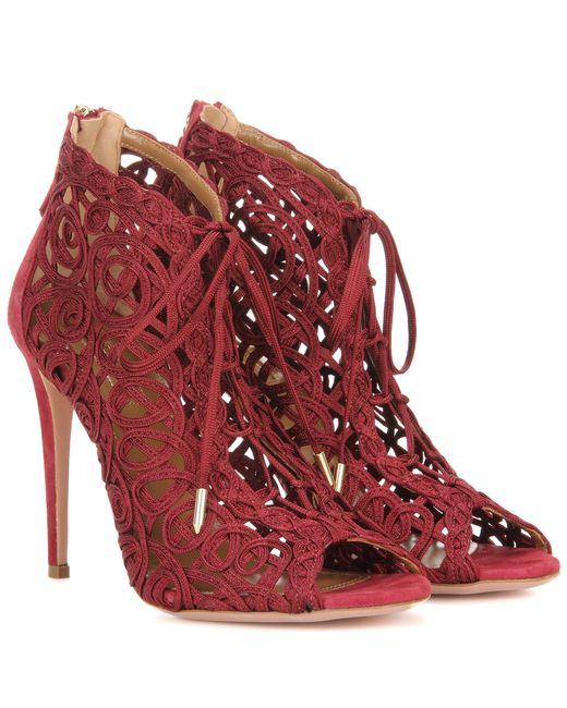 Aquazzura - Red Kya Bootie Sandals - Lyst