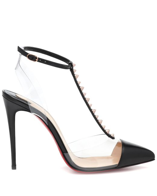 ee75273f44f4 ... Christian Louboutin - Black Nosy Spikes Pvc And Leather Pumps - Lyst ...