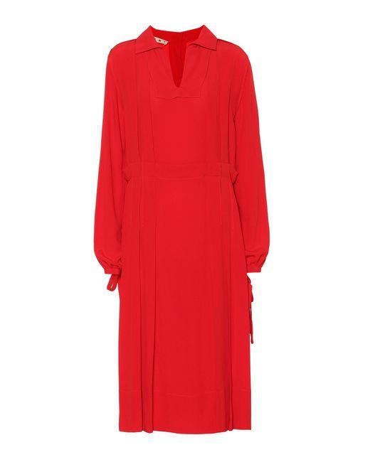Marni - Red Crêpe Dress - Lyst