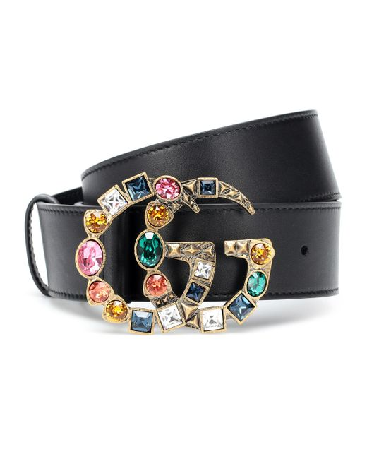 79c7b77aa Gucci GG Crystal-embellished Leather Belt in Black - Save 1% - Lyst
