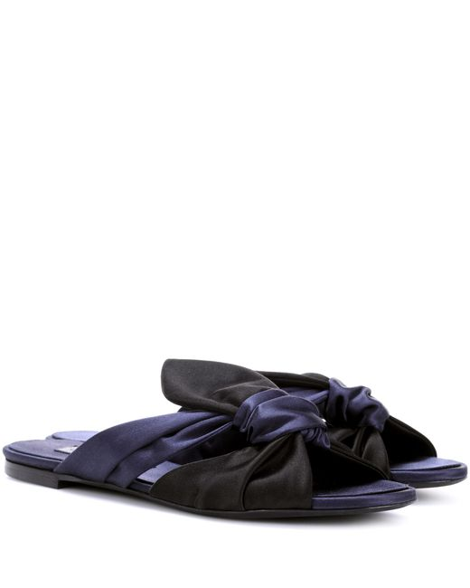 Oscar de la Renta - Blue Satin Slip-on Sandals - Lyst
