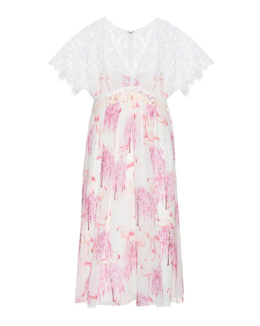 Giamba - Pink Printed Silk And Lace Dress - Lyst