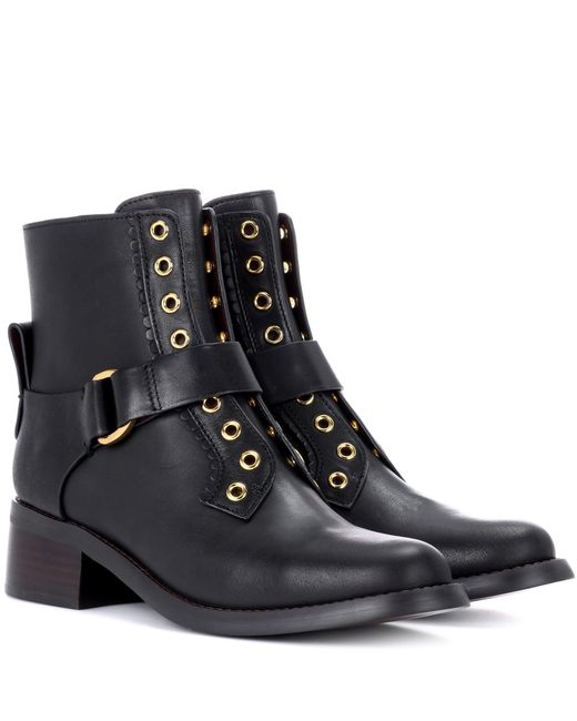 See By Chloé - Black Embellished Leather Ankle Boots - Lyst