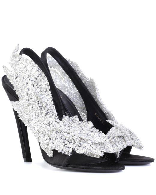Balenciaga - Black Embellished Satin Sandals - Lyst