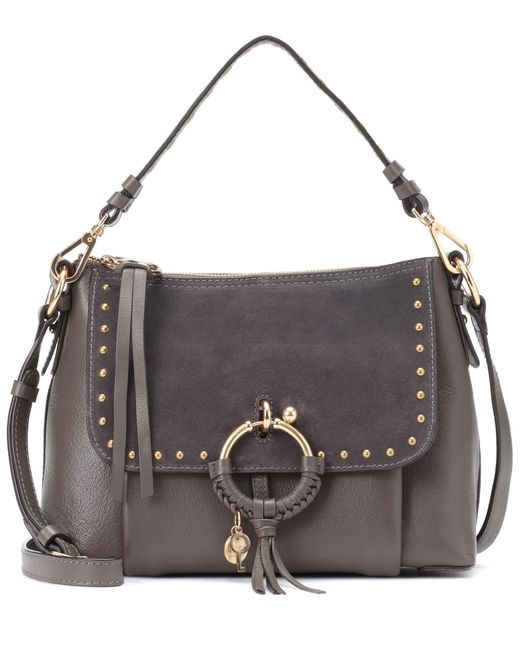 See By Chloé - Gray Joan Small Leather And Suede Crossbody Bag - Lyst