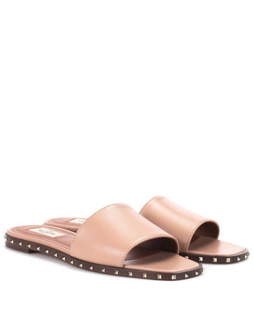 Valentino - Pink Rockstud Leather Slides - Lyst