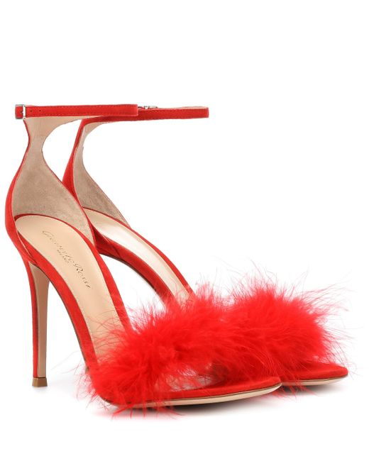 abeaeb5b8cf Gianvito Rossi - Red Exclusive To Mytheresa – Bliss Feather-trimmed Suede  Sandals - Lyst ...
