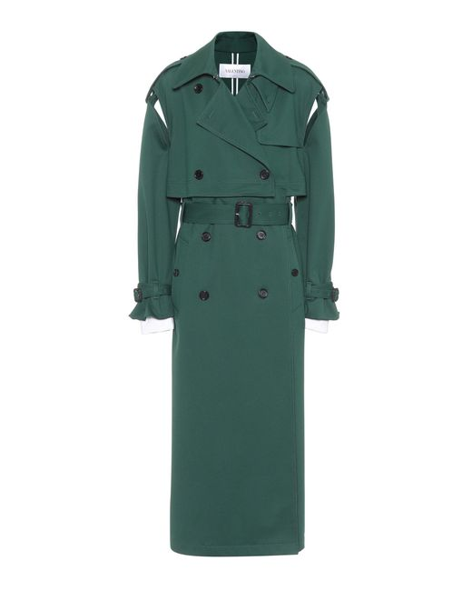 Valentino - Green Jersey Trench Coat - Lyst