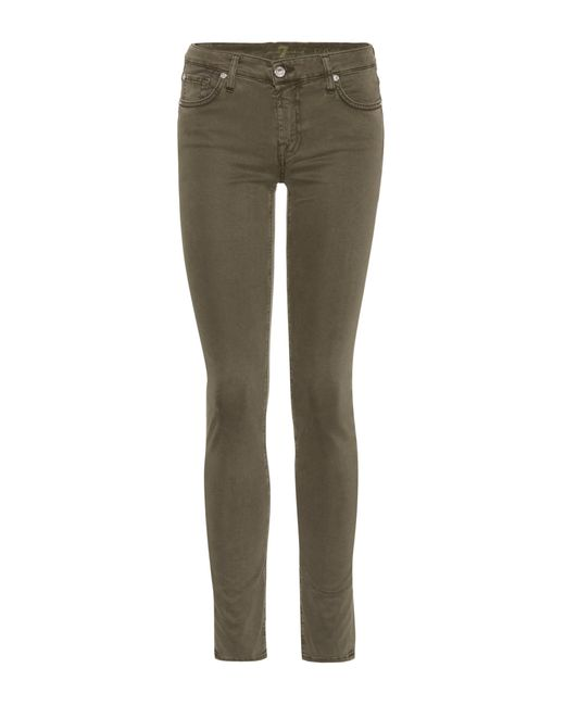 7 For All Mankind - Green Pyper Skinny Jeans - Lyst
