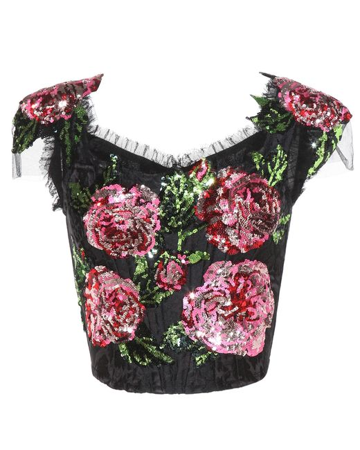 Dolce & Gabbana | Black Sequinned Top | Lyst