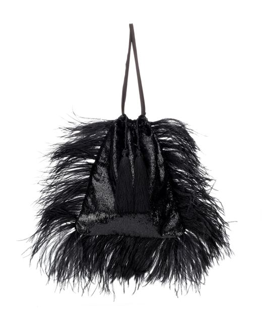 Attico - Black Party Feathered Bag - Lyst