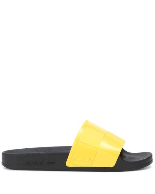 dbd49a49dd63d ... Adidas By Raf Simons - Yellow Adilette Checkerboard Slides - Lyst ...